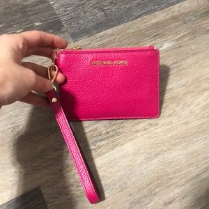 Michael Kors pink wristlet coin purse